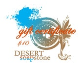 10 USD Gift Certificate for soap, scrubs and bath and body products