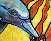 Dolphins eye print of an original painting, 8 x10  signed,