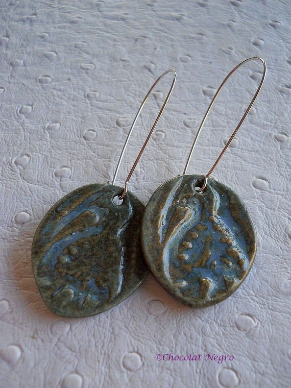 RISING PHOENIX ceramic handcrafted dangle earrings, south africa
