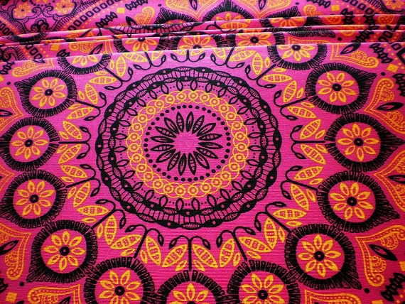 Pink Psychedelic - Original South African ShweShwe Designer  Fabric - 100 % Cotton
