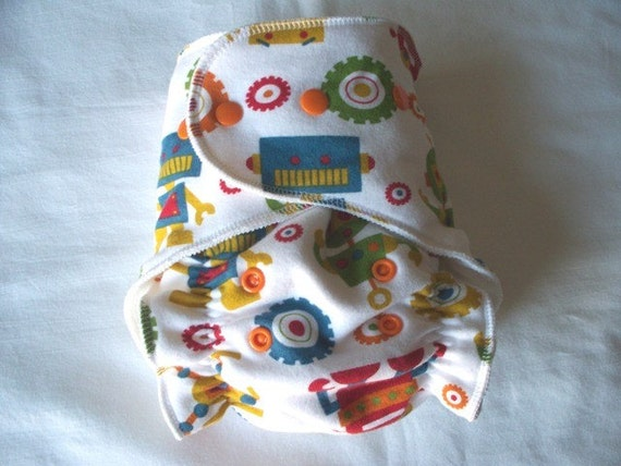 One Size Fitted Cloth Diaper Overnight in Robots FREE SHIPPING