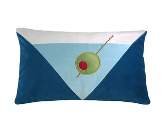 Mod Blue Martini Modern Decorative Pillow 12 x 20 inches