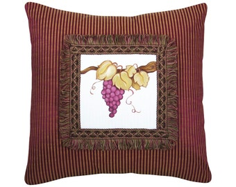 Handpainted Grapes Decorative Pillow Purple and Gold Damask and Velvet