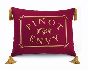 Pinot Envy Decorative Pillow with Tassels 12 x 16 inches