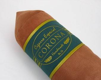 Light Corona Cigar Pillow with Emerald Green and Gold Band 8 x 24 inches