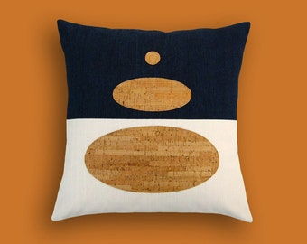 Indigo Denim and Cork Modern Decorative Pillow 17 x 17 inches