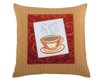 short coffee cup framed decorative pillow 17 x 17 inches