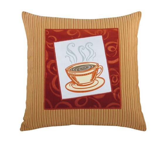 """Short Coffee Cup """"Framed"""" Decorative Pillow 17 x 17 inches"""