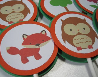 SALE / CLEARANCE Forrest Friends Cupcake Toppers