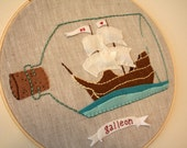 Chicken Portrait and Little City Hoop--Pirates of Love (Galleon) Reserved for Sarah