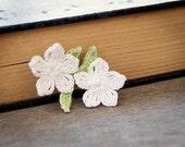 Crochet Bookmark White Pear Blossoms Flowers