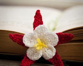Handmade Crochet Flower Bookmark Red Columbine Flower