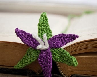 Handmade Crochet Bookmark Purple Wake Robin Flower