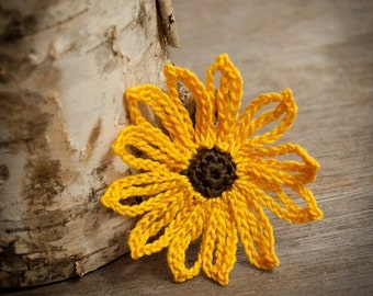 Crochet Flower PATTERN Brown Eyed Susan Flower PDF beautiful applique