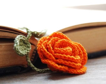 Handmade Crochet Flower Bookmark Orange Rose