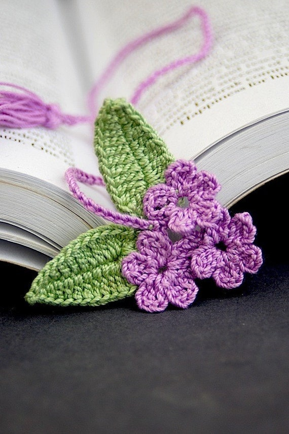 Crochet Flower Bookmark Purple Blossoms Reserved For Easy123