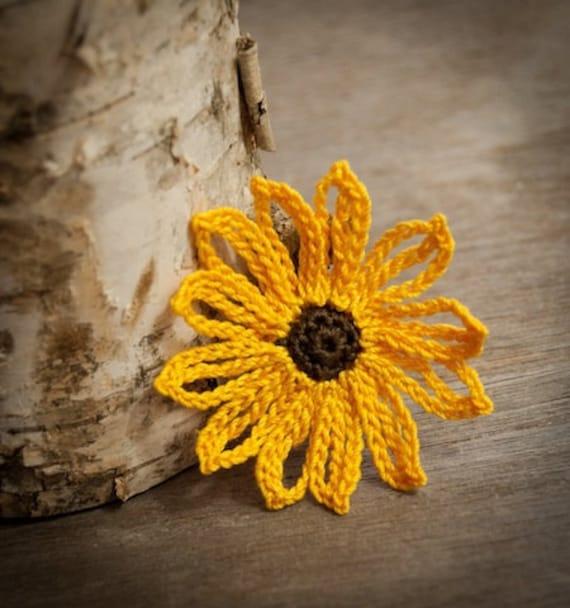 Crochet Flower PATTERN Brown Eyed Susan Flower PDF beautiful applique