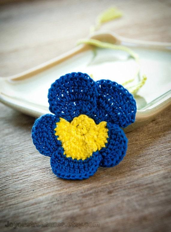 Handmade Bookmark Crochet Blue Pansy Flower Yellow Center