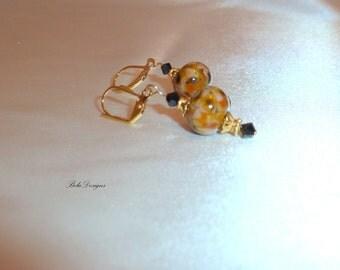 Golden Natural and Black Handmade Lampwork Earings
