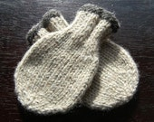 Wool Baby Mittens - Oatmeal with Charcoal Gray Rim, 0, 6 or 12 months
