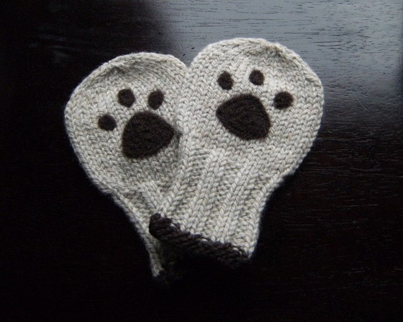 Wool Baby Bear Paw Mittens, Thumbless Wool Baby Mittens