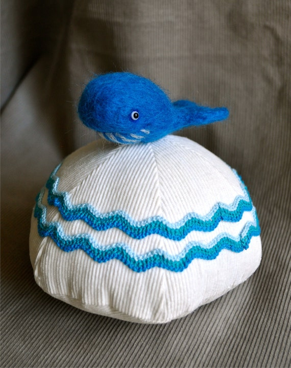 Pinwale Pin Whale - a corduroy whale pin cushion by Squirrel Momma for the Corduroy Appreciation Club