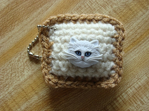 Fluffy White In-Bread Cat Keychain by Yummypancake for Funky Friday