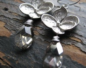 GLORIA-Silver Blossom with Silver Shade Swarovski Crystal Earrings