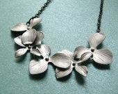 PHEOBE-Silver Orchids and Gunmetal Chain Necklace