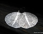 WOODLAND-Large Silver Skeletal Round Leaf Earrings