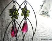 GERBER-Fuchsia and Olivine Swarovski Crystals and Gunmetal Chandelier Earrings