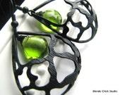 LEANN-Matte Black Ornate Domed Teardrop Earrings with Apple Green Quartz