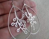 JASPER-Silver Teardrop Hoop Chandelier Earrings with Dangle Branches