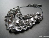 LUSH-Silver Chain and Circle Bib Style Draped Necklace