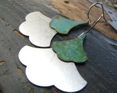 SARAH-Silver and Patina Copper Layered Ginkgo Leaf Earrings