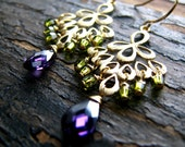GRACE-Golden Fan Drops with Purple Cubic Zirconia and Olive Swarovski Crystals