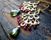 GENNA-Golden Fan Drops with Olive Green Cubic Zirconia and Fuchsia Swarovski Crystals