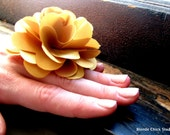 FINGER CORSAGE no.6-Mustard Yellow Fabric Bridesmaid Ring