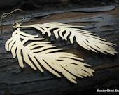 FLIGHT-Huge Golden Feather Earrings