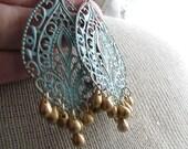 GIADA-Teal Filigree Medallion Chandelier Earrings with Metallic Glass Drop Beads