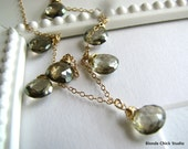 WHISKEY-14Kt Gold Chain and Whiskey Quartz Briolettes Necklace