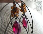 DAPHNE-Fuchsia and Orange Copper Swarovski Crystals and Gunmetal Chandelier Earrings