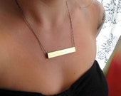 PLANK-Huge Vintage Raw Brass Rectangular Hollow Bar Pendant and Gunmetal Helix Necklace