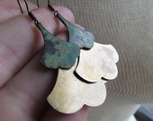 SARAH-Patina Copper and Raw Brass Layered Ginkgo Leaf Chandelier Dangle Rustic Nature Earrings