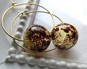 SPOT-Hollow Amber Leopard Glass Bubble Hoop Earrings