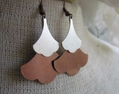SARAH-Raw Brass and Silver Layered Ginkgo Leaf Chandelier Dangle Rustic Nature Earrings