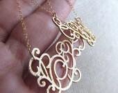 ELSIE-Golden Scroll Filigree Chandelier Chain Earrings