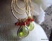 AUTUMN-Layered Golden Teardrop Earrings with Framed Peridot Glass Stone & Burnt Orange Swarovski Crystals