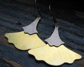 PAM-Brass Ginkgo Leaf Earrings