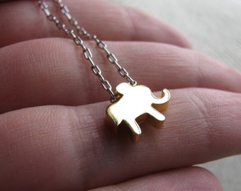 ELEPHANT-Tiny Gold Elephant and Silver Necklace
